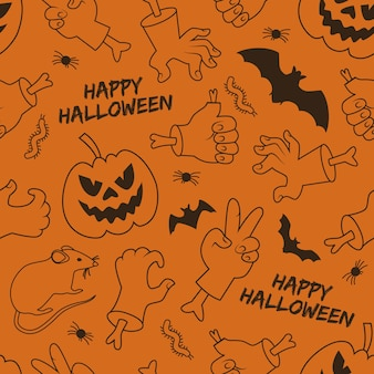 Happy halloween seamless pattern with lantern of jack hands and gestures animals on orange background