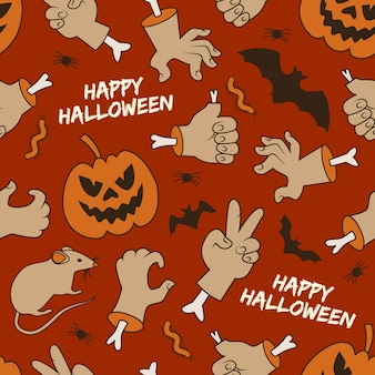 Happy halloween seamless pattern with lanterns of jack hands worms and bats on red background