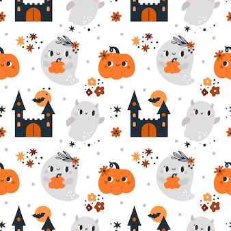 Happy halloween seamless pattern with pumpkins ghosts and magic elements