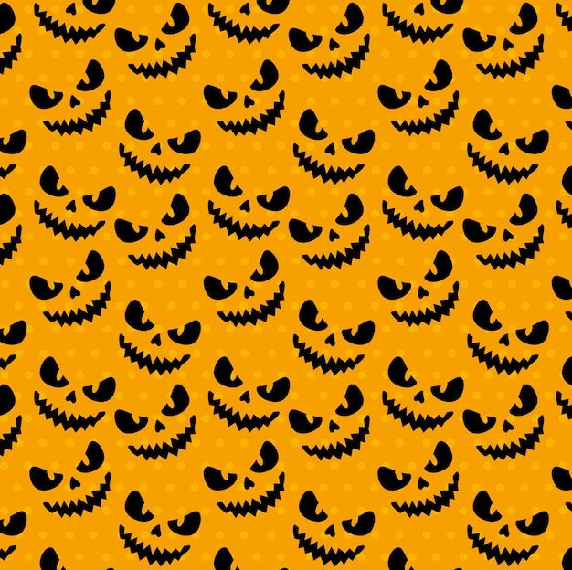 Happy halloween seamless pattern with scary faces