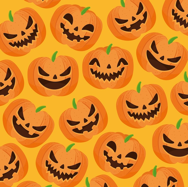 Happy halloween seamless pattern with scary pumpkins