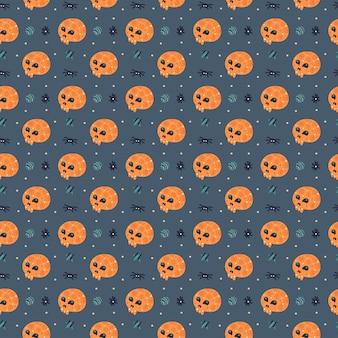 Счастливый хэллоуин бесшовные модели с черепом и пауком.