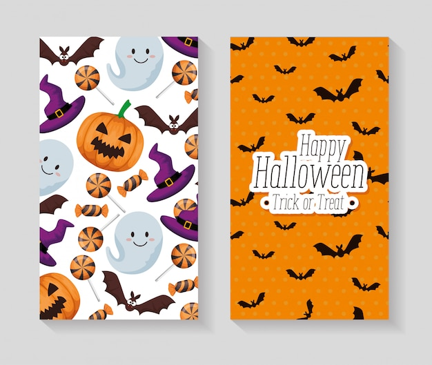 Happy halloween set cards set