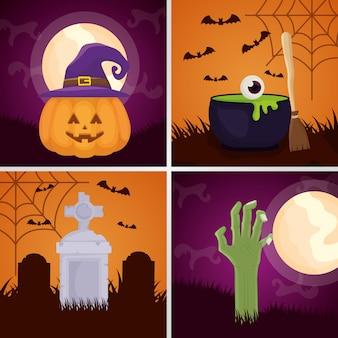 Happy halloween set dark s