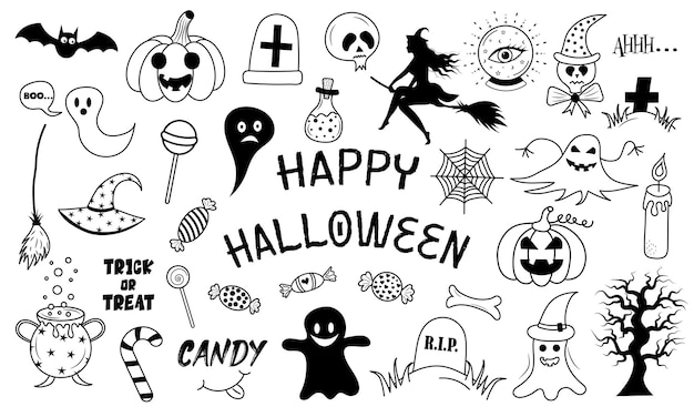 Happy halloween set of elements in doodle style. hand drawn illustration.