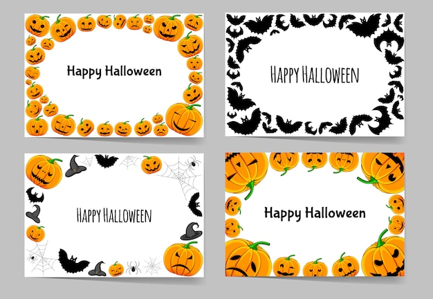 Happy halloween set of frames traditional attributes. cartoon style