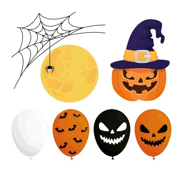 Happy halloween set icons decoration