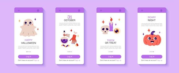Счастливый хэллоуин набор экрана мобильного приложения с тыквенной свечой и зельем черепа векторная иллюстрация