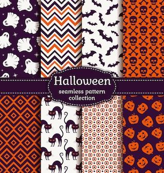 ハッピーハロウィン!カボチャ、頭蓋骨、幽霊、コウモリ、黒猫などの伝統的な休日のシンボルとシームレスなパターンのセット。紫、オレンジ、白の色のベクトルの背景のコレクション。