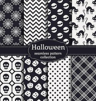 Счастливого хэллоуина! набор бесшовных паттернов с традиционными праздничными символами