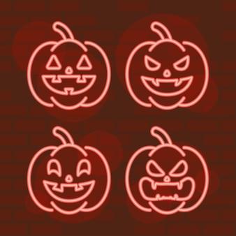 Happy halloween set pumpkins in neon light Premium Vector
