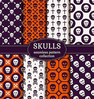 Happy halloween! set of seamless patterns with traditional holiday symbol