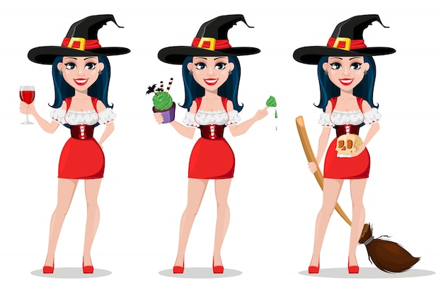 Happy halloween, set, sexy witch