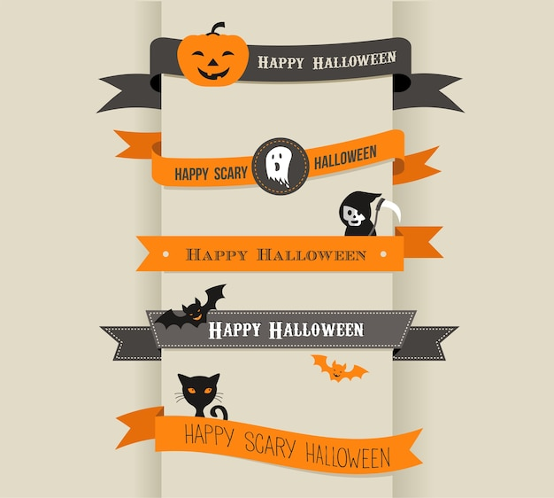 Happy halloween set of vector ribbons