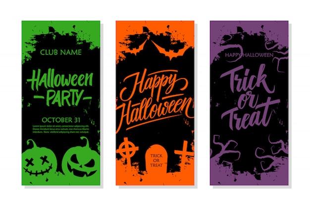 Happy halloween set. приглашение на вечеринку, поздравительную открытку и праздничный шаблон летчика с ручной надписью, традиционными символами и мазком кисти.