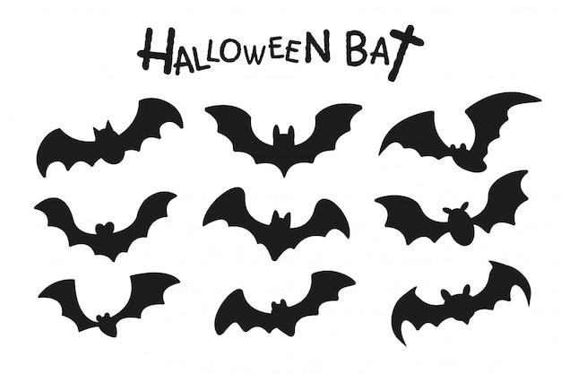 Happy halloween. the shadow of a group of vampire bats flying on halloween night.