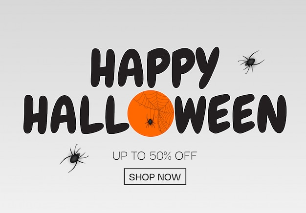 Happy halloween, shop now poster template background.  illustration