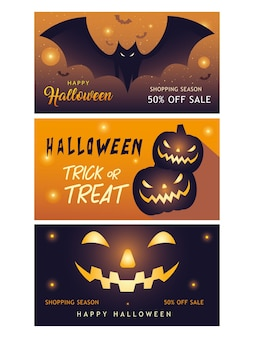 Happy halloween shopping season banners collection design off sale and ecommerce