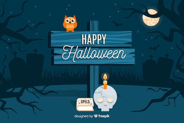 Happy halloween sign in the night background