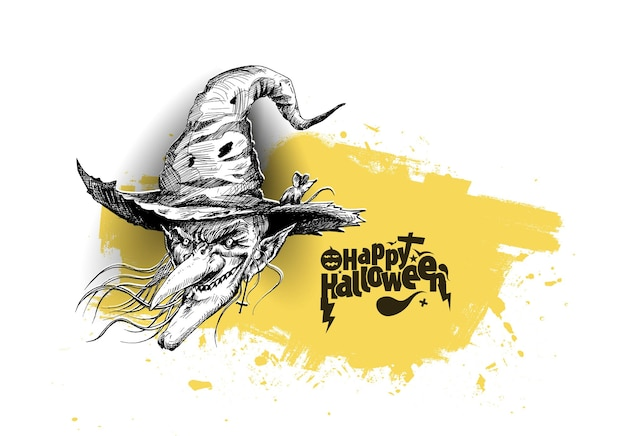 Happy halloween silhouettes of witches, hand drawn sketch vector illustration.