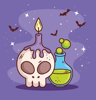 Happy halloween and skull, candle and posion magic