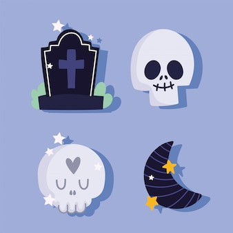 幸せなハロウィーン、頭蓋骨の墓石、ハーフムーントリックオアトリートパーティーお祝いベクトルイラスト