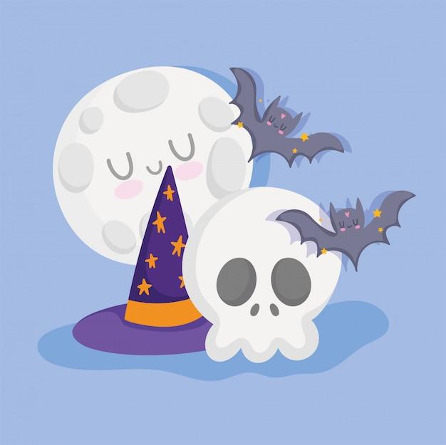 Счастливого хэллоуина, череп шляпа летучих мышей и луна трюк или угощение вечеринка празднование векторные иллюстрации