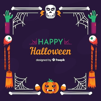 Happy halloween skull and pumpkin frame