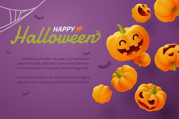 Счастливый хэллоуин, улыбающаяся тыква-фонарь на оранжевом фоне, вектор eps10.
