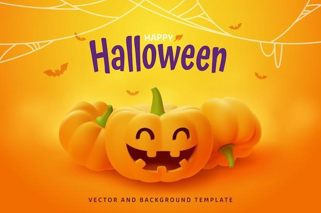 Happy halloween, smilling jack-o'-lantern pumpkin on orange background, vector eps10.