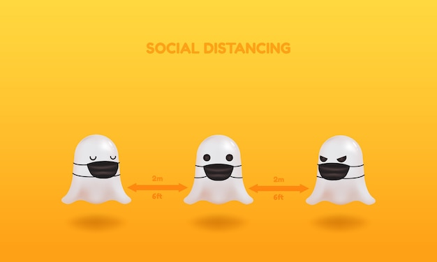 Happy halloween social distancing tips. cute ghost wearing face mask