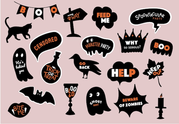 Happy halloween. speech bubbles set with text. trick or treat, party, boo, wow, help, zombies, blood, bite etc.