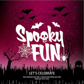 Happy halloween spookey fun creative design vector
