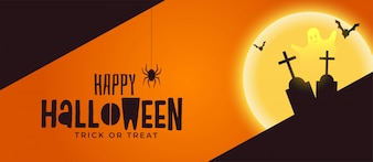 Happy halloween spooky banner with grave and ghost