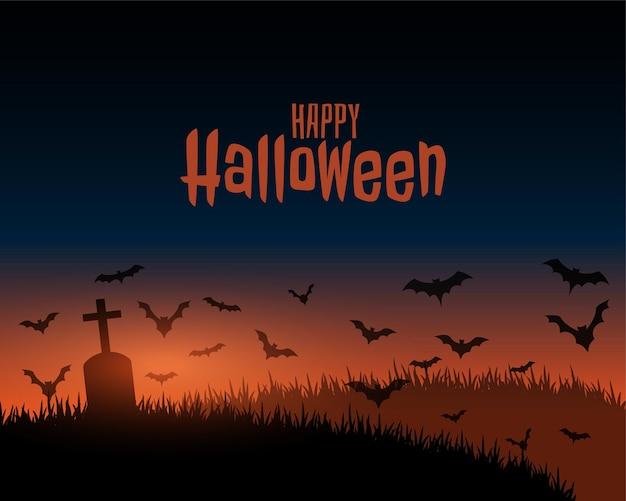 Felice halloween scena spettrale paesaggio con erba e tomba