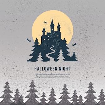 해피 할로윈 사각형 배너 템플릿입니다. 어두운 숲과 오래된 성 및 달의 무섭고 무서운 그림.