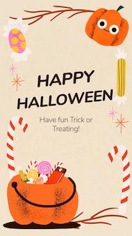 Happy halloween story template vector, cute pumpkin illustration