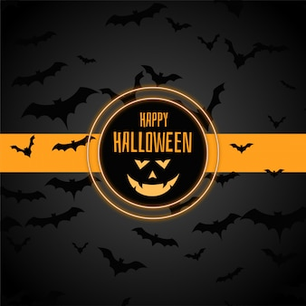 Happy halloween stylish background with many bats