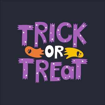 Happy halloween template with handwritten inscription trict or treat