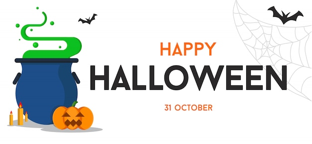 Happy halloween text background or banner graphic