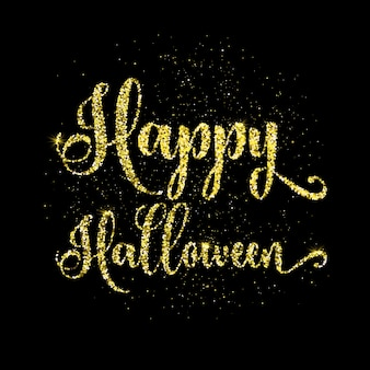 Happy halloween text background with gold glitter effect