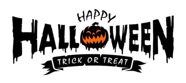 Happy halloween text banner design concept