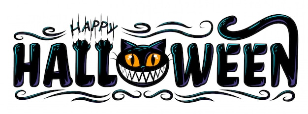 Happy halloween text banner design