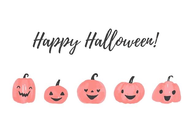 Счастливый текстовый баннер хэллоуина. хэллоуин векторный логотип изолированы.