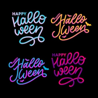 Happy halloween text banner lettering calligraphy 3d set