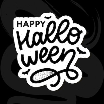 Happy halloween text banner, lettering calligraphy