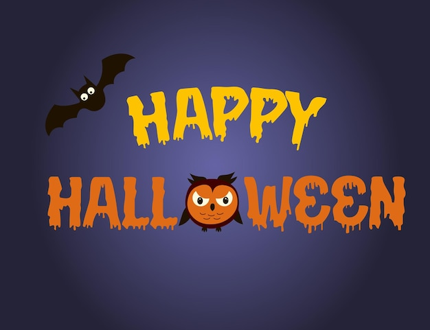 Happy halloween text banner with owl and bat. vector illustration.