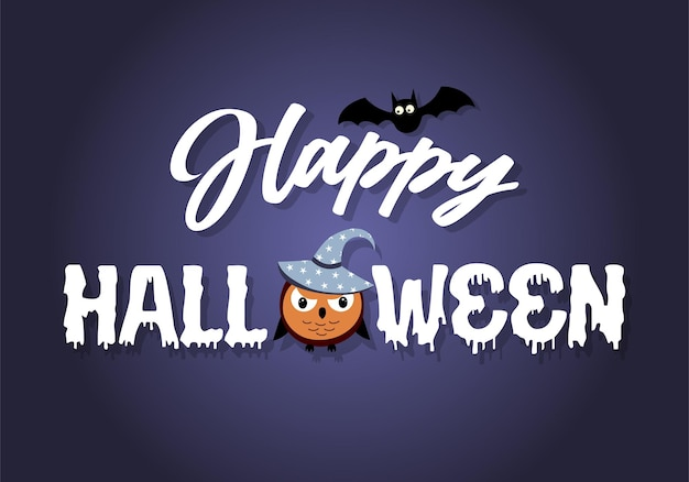 Happy halloween text banner with owl in hat and bat. vector illustration.