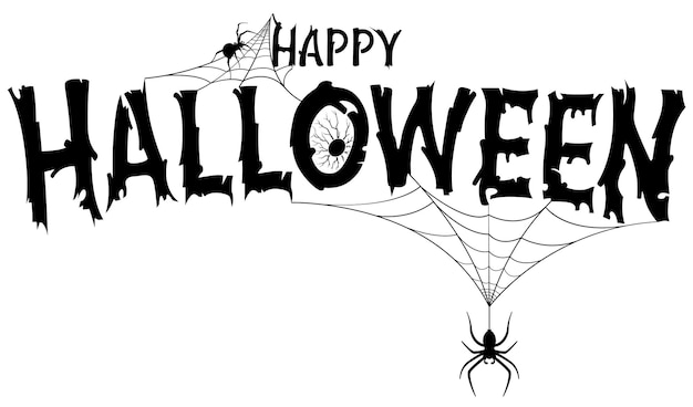 Happy halloween text banner with spiders on web