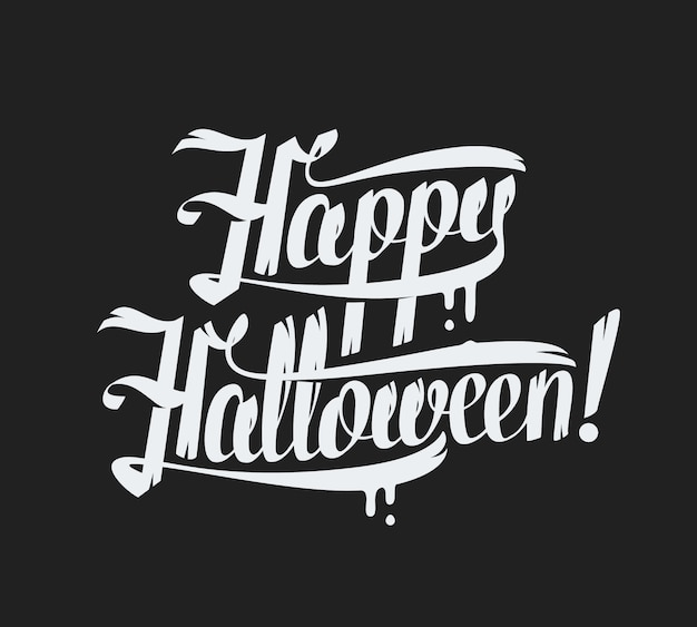 Happy halloween text  on black background hand lettering  illustration.